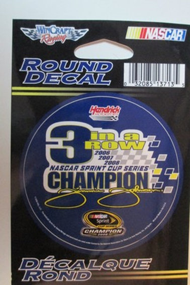 2008 NASCAR Sprint Cup 3 time Champion Decal / Jimmie Johnson Decal #2