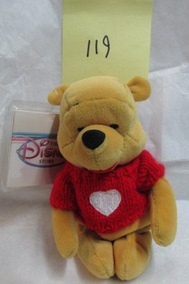 """Pooh with Red Sweater 8"""" / Disney Beanies"""