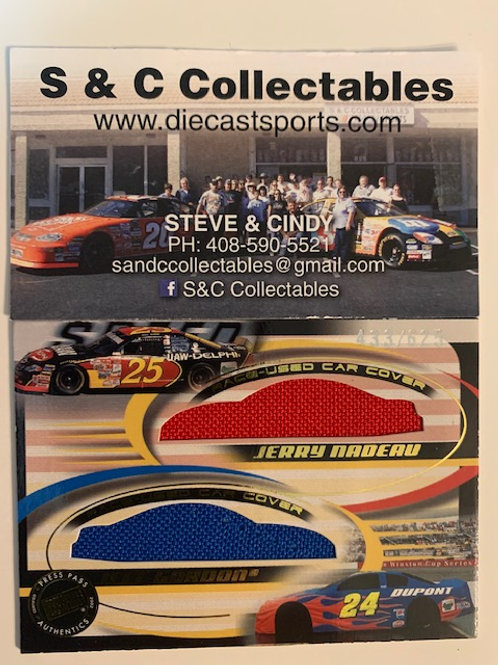 2002 Race-Used Double Car Cover / Jeff Gordon Jerry Nadeau Cards