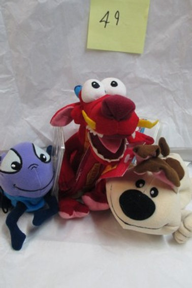 Mulan Set of 3 Little Brother, Mushu & Cricket / Disney Beanies