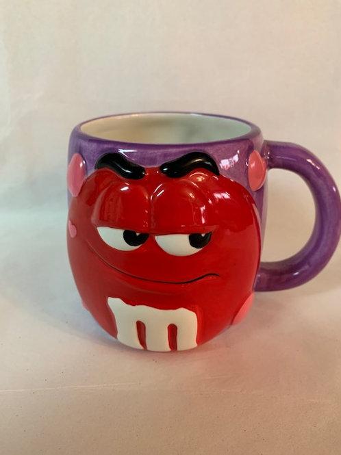 2001 M&M Ceramic  Red  Purple Valentine Day Coffee Mug / M&M Stuff Glass#17
