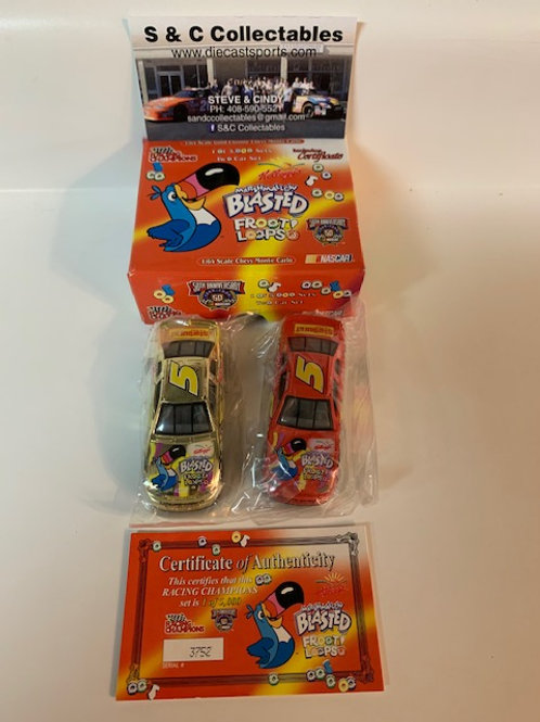 1998 Marshmallow Blasted Froot Loops 2 Car Set / Terry Labonte 1:64 Shelf