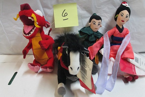 Mulan- Khan Horse, ML Mushu Dragon, Mulan Warrior & Mulan Pink / Disney Beanies