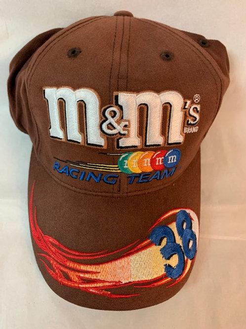 2003 M&M's Brand  Light Brown Racing Hat a little dirty / Elliott Sadler Hat#38