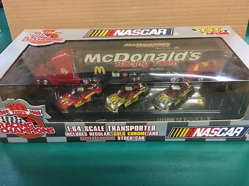 1999 McDonald's Transporter & 3 Car Set / Bill Elliott 1:64 Shelf