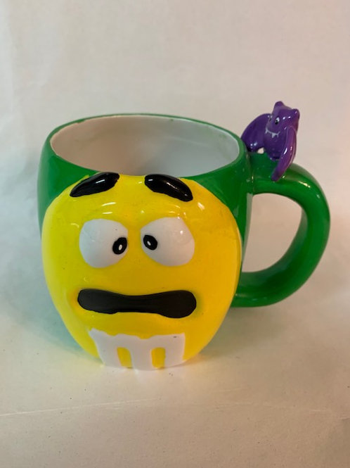 2003 M&M Ceramic-Yellow/Green Halloween Bat Coffee Mug / M&M Stuff  Glass#12