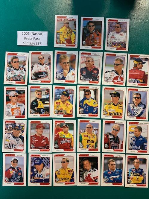 2001 Press Pass Vintage 27  Card Set  (NASCAR) Box# DD