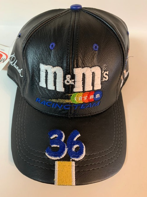 2000 M&M Black Leather  Hat With Cool Blue  (NEW)  / Ken Schrader  Hat#5