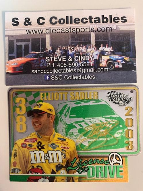 2003  Press Pass Trackside M&M's License to Drive /  Elliott Sadler   Box# FF