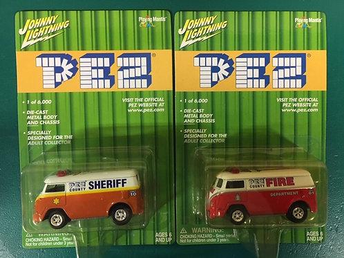 2001 PEZ Red Fire & Orange Sheriff  / Johnny Lightning - Hot Wheels 1:64 Shelf