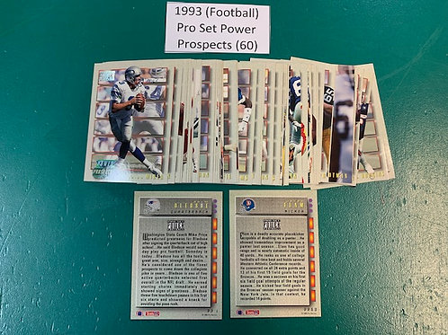 1993 Pro Set Power Prospects Complete Set 1-60 / Football   Box# F1