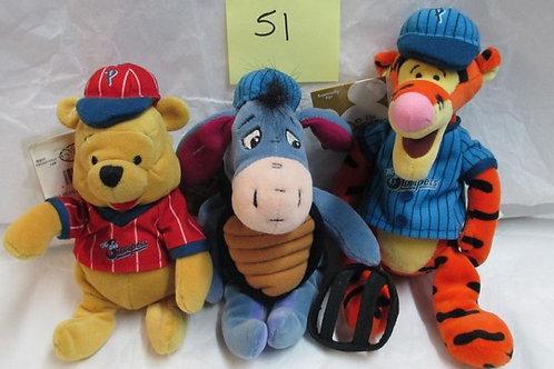 Baseball Tigger, Catcher Eeyore & Baseball Pooh / Disney Beanies
