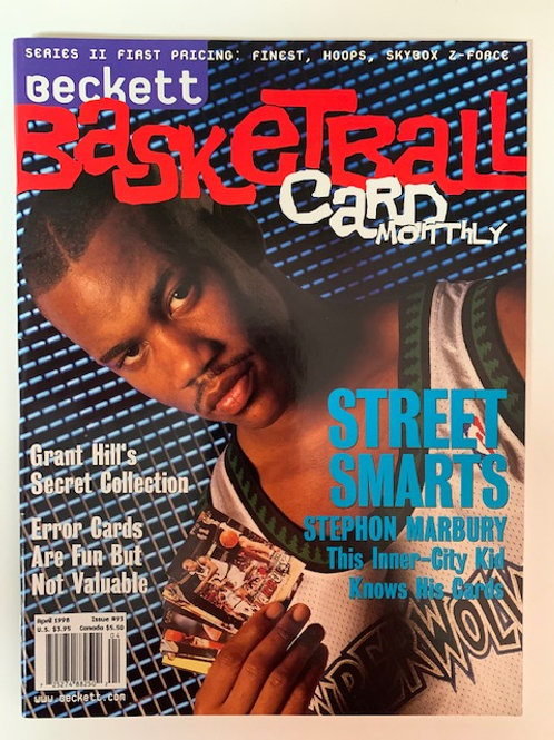 1998  Beckett Card Monthly Issue# 93 Stephon Marbury  / Basketball
