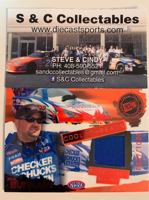 2005 Raced-Used NHRA Shirt / Phil Burkart Cards