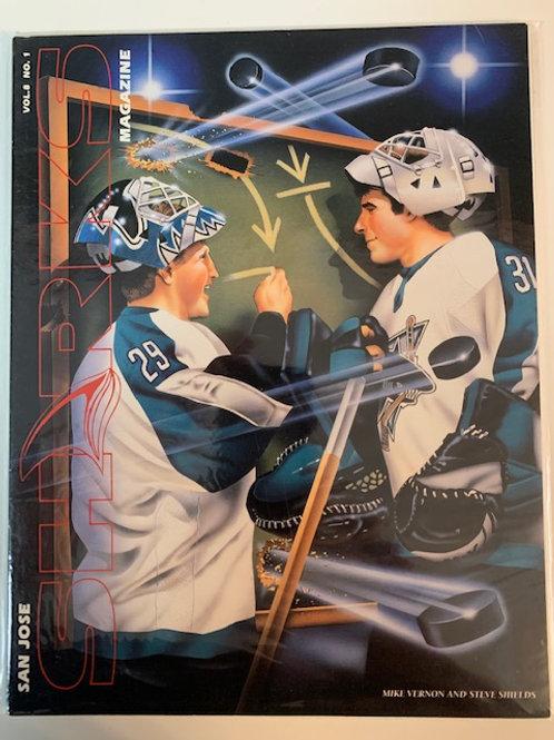 1999 San Jose Sharks Magazine Vol. 8 No  .1 / Mike Vernon and Steve Shelds
