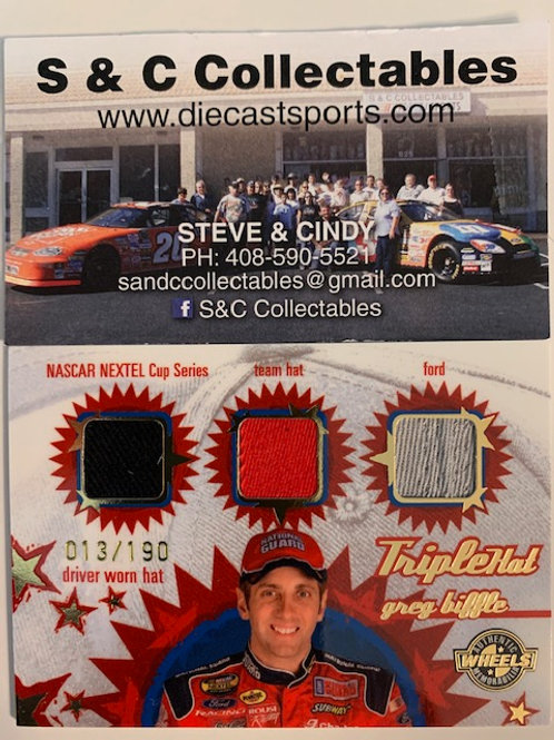 2005 Raced-Used Piece of Driver Worn Triplehat  / Greg Biffle Cards