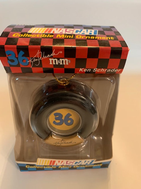2002 M&M Christmas Tire Ornament (Never Opened) /Ken Schrader M&M Stuff  Box# 98