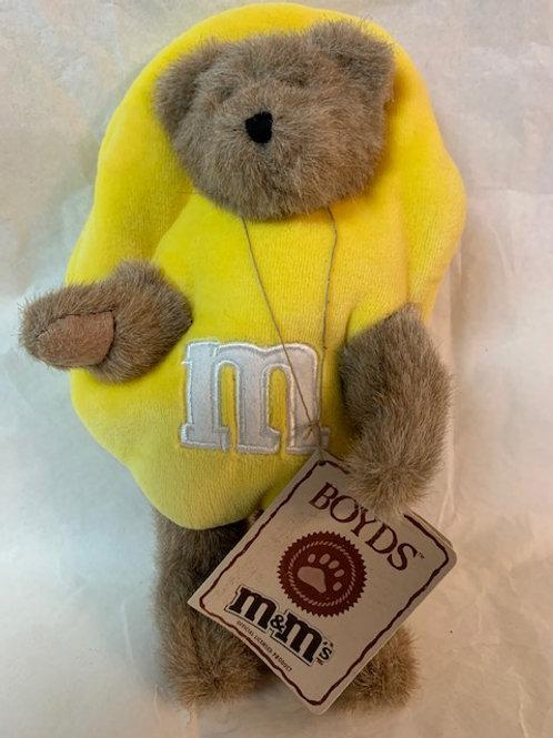 2005 M&M Boyds Bear  Dressed up as Screaming Yellow / M&M Stuff Box#1