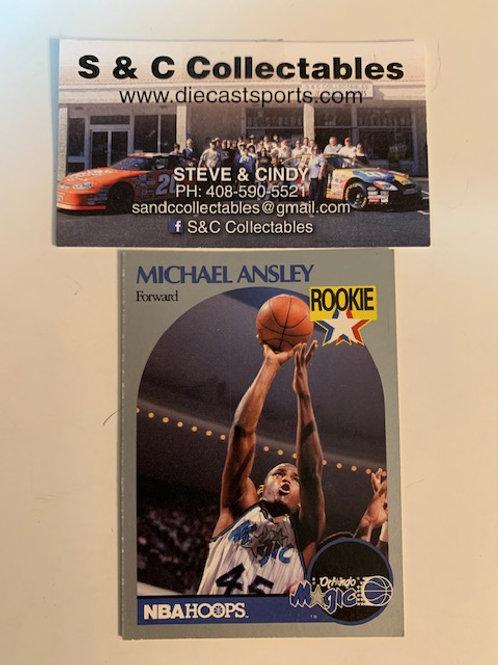 1990-91 NBA Hoops Michael Ansley Forward Card# 215 / Basketball-BK1
