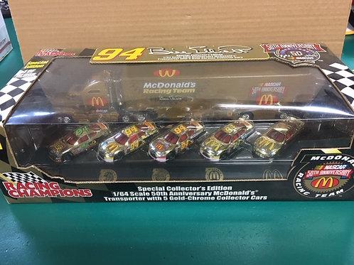 1998 McDonald's 50th Anniversary Gold Hauler /5 Car Set /Bill Elliott 1:64 Shelf