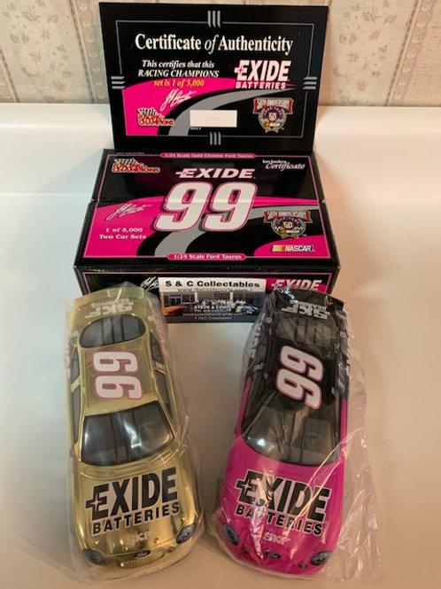1998 Exide Batteries Reg & Gold Chrome 2 Car Set / Jeff Burton 1:24