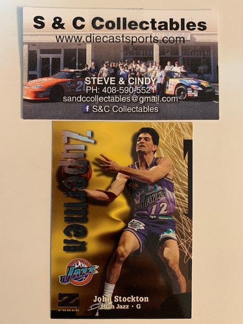 1997-98 Skybox Z-Force Zupermen John Stockton Card# 207 / Basketall-BK1