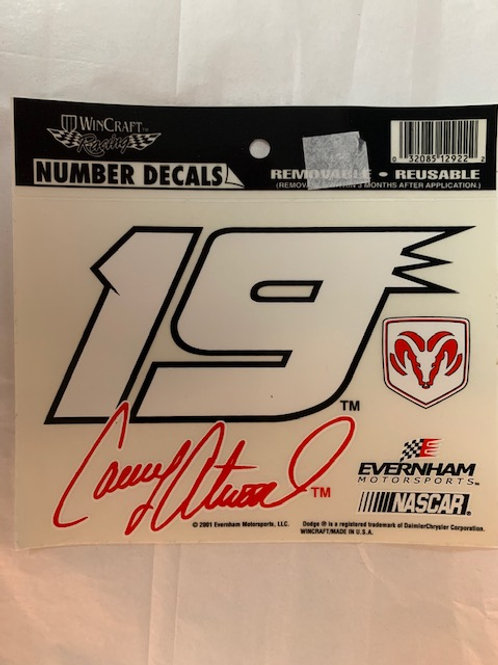2001 Number Removable-Reusable Decal / Casey Atwood    Decal# 1