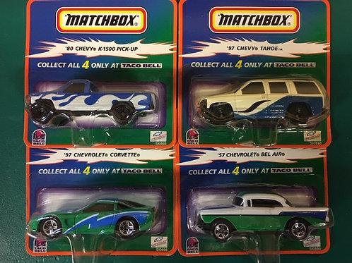 1999 4 Car Set from Taco Bell / Matchbox -Hot Wheels 1:64 Shelf