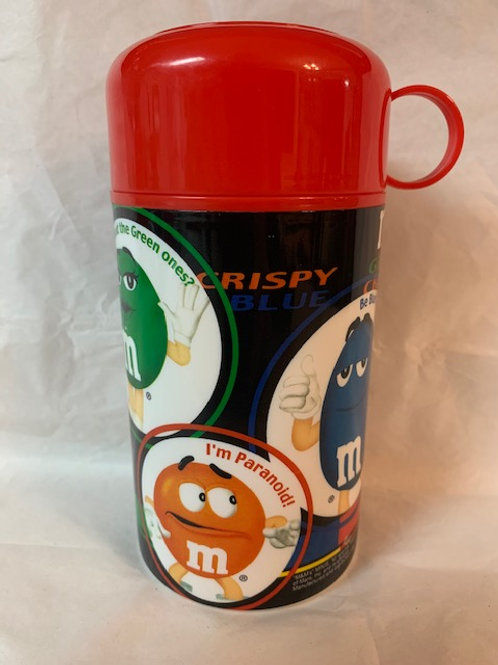 2002 M&M Black Thermos Canister W/Lid  & Cup / M&M Stuff Shelf