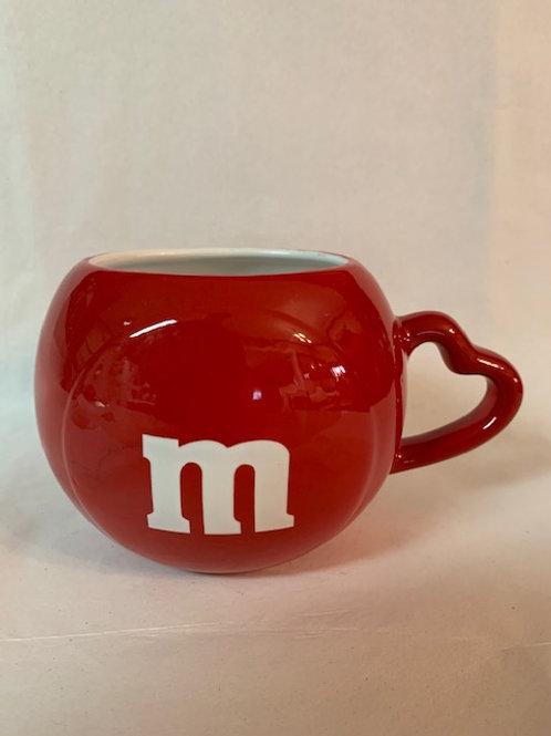 2005 M&M Ceramic  Red With a Heart Handle Coffee Mug / M&M Stuff Glass#16