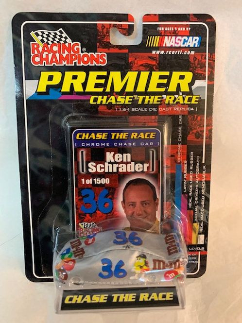 2001 M&M  Chrome Chase Car with Silver Car Cover / Ken Schrader 1:64 Box#36