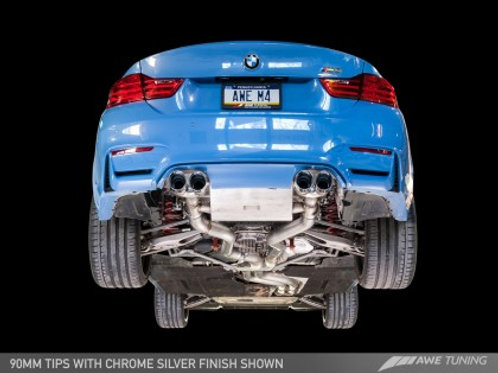 AWE Tuning BMW F8X M3/M4 Resonated SwitchPath Exhaust - Diamond Black Tips (102m