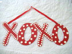 """Red and White Dot """"XOXO"""""""
