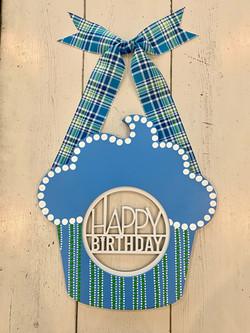 Blue HBD Cupcake