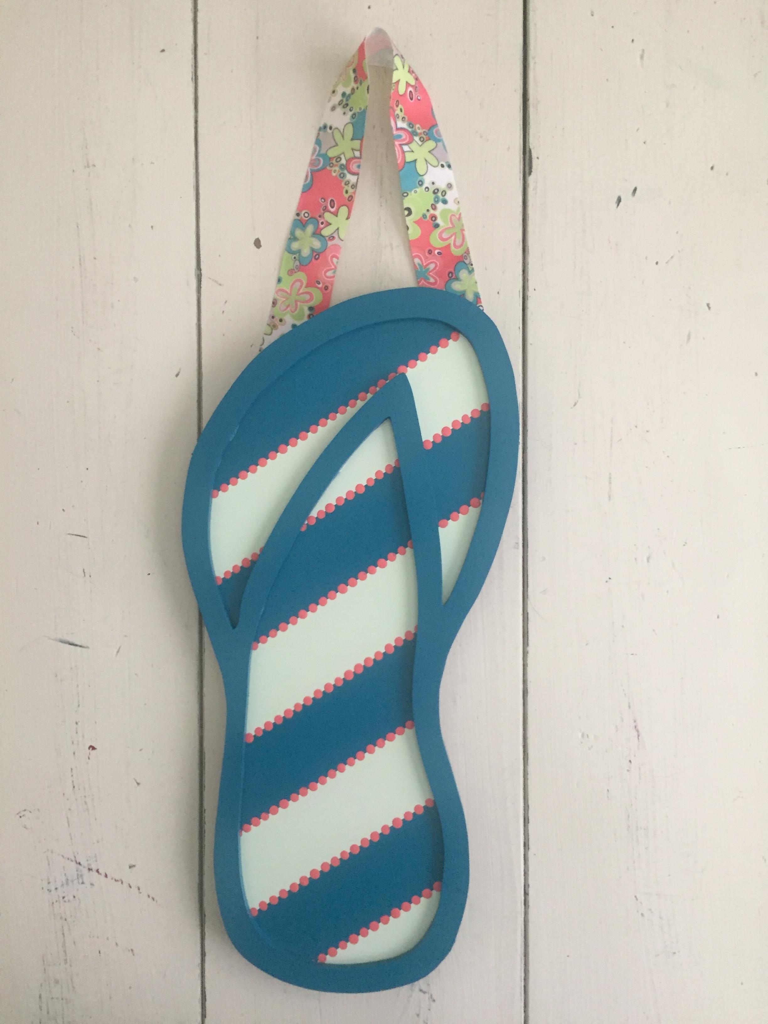 Teal Stripe Flip Flop