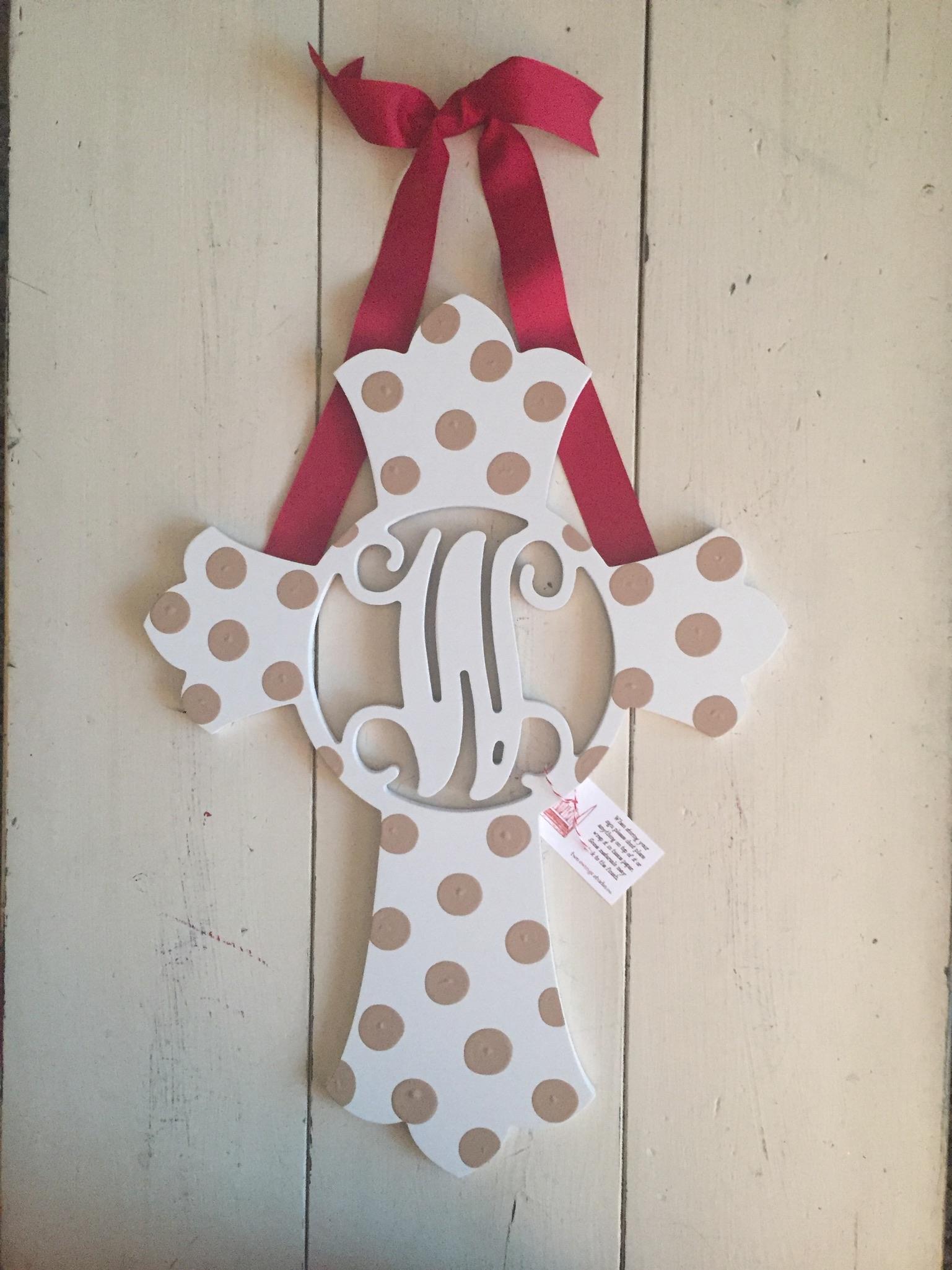 Polka Dot Cross Initial