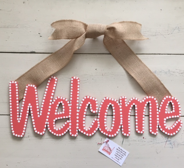 "Coral ""Welcome"" Sign"