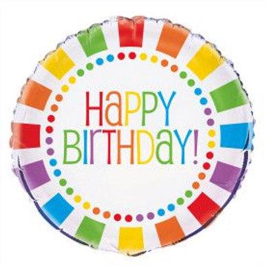 """Balloon Foil 18"""" Rainbow Birthday"""