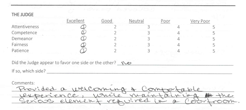 Juror comment (welcoming and comfortable