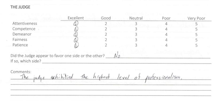 Juror comment (highest level of professi