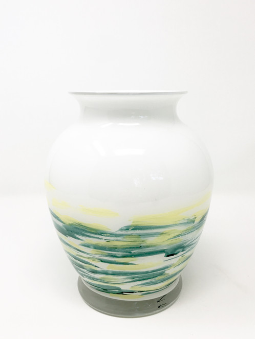 White Yellow And Teal Vase Hand Painted Glass Art