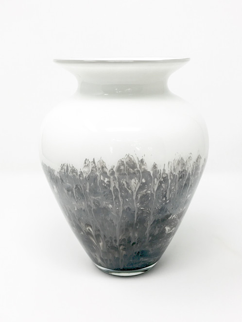Grey And White Vase Hand Painted Glass Art