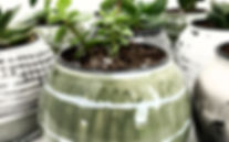 hand painted contemporary glass planters with drainage