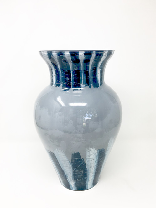 Dark Blue And Grey Large Vase Hand Painted Glass Art