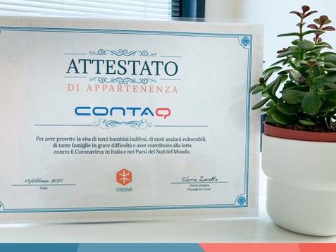 Orgogliosi di aver ricevuto il certificato di appartenenza da parte di Cesvi Onlus