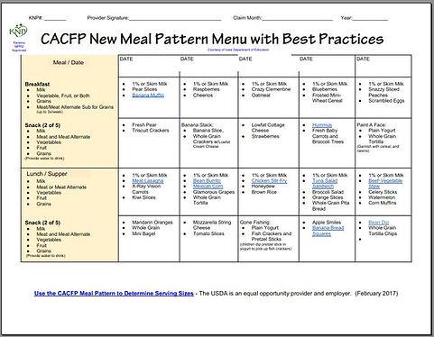 CACFP Healthier Menu