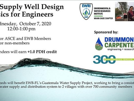 DC Sponsors ASCE Florida Section/Engineers Without Borders USA Water Supply Well Design webinar