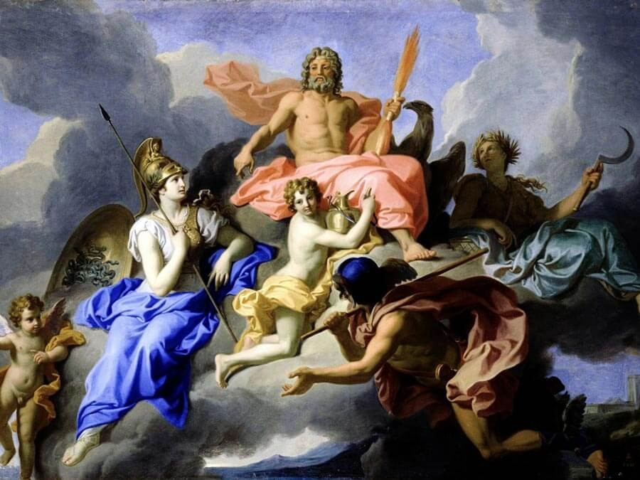 Goddess Athena and the triumph of God Zeus painting by René-Antoine Houasse (1706)