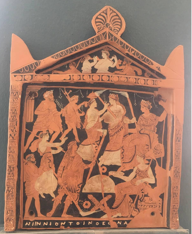 Copy of the 'Ninnion Tablet' which depicts initiates being led in a procession to the Mysteries and being received by Demeter and Persephone. The Ninnion Tablet is the only known representation of the rites of the Eleusinian Mysteries.   Athens, Archaeological Museum of Eleusis. Photograph author's own.