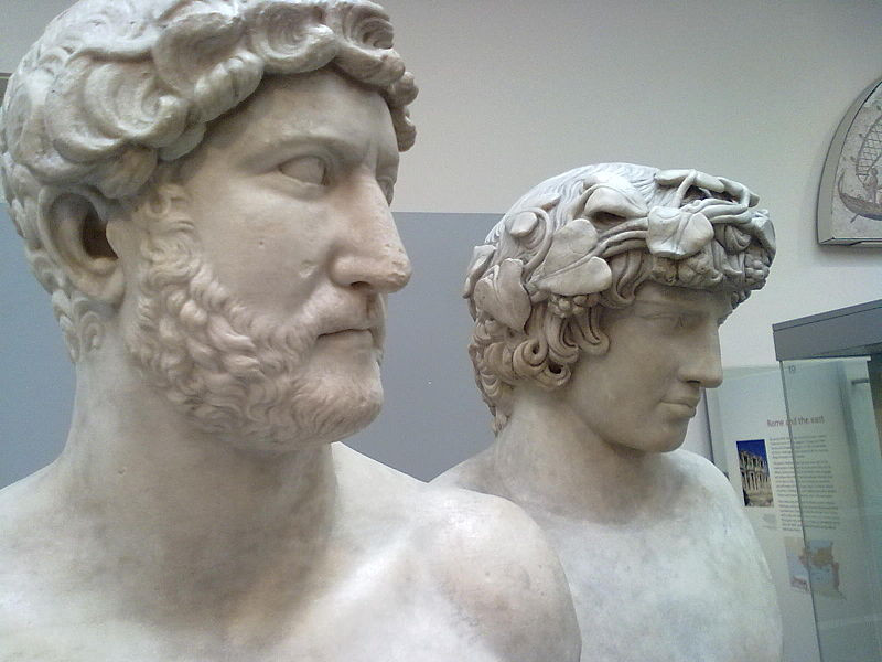 Adjacent busts of Emperor Hadrian and Antinous exhibited at the British Museum